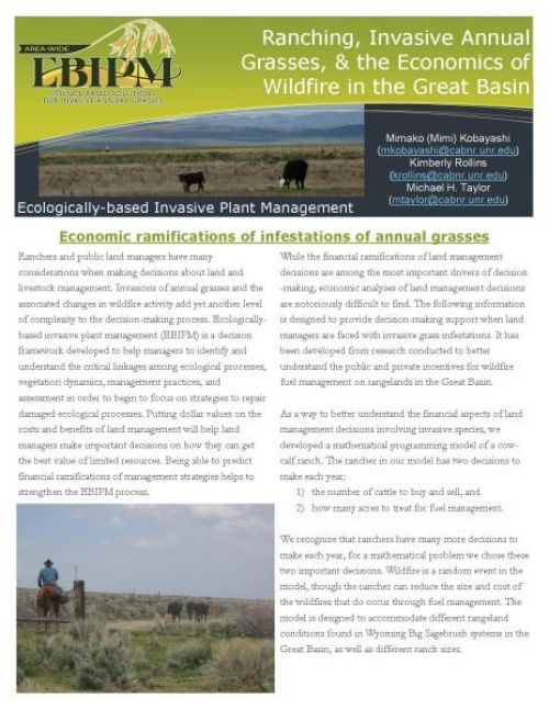 Economics bulletin: Ranching, Invasive Annual Grasses, & the Economics of Wildfire in the Great Basin