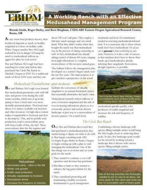 A Working Ranch with an effective medusahead management program bulletin