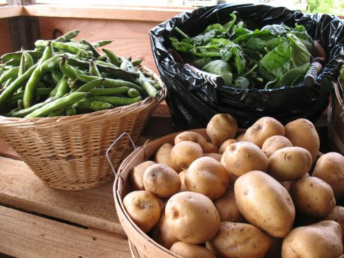 spring produce - peas, spinach, and potatoes!