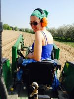 Michelle on tractor work
