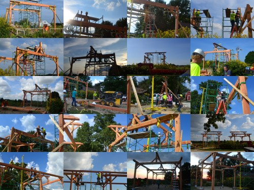 Pavilion construction project photo collage