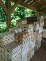 A pile of Dad's craftsmanship.  It takes a lot of crates.