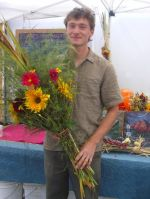 The intrepid Adam with a Fall Market Bouquet