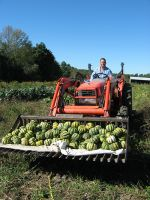 Erick hauls in a load of winter squash!