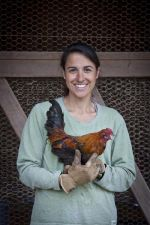 Patty Taylor with banty rooster