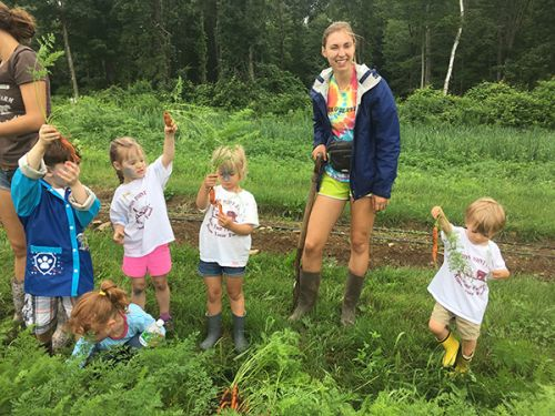 Farm Camp Kids Harvest Carrots