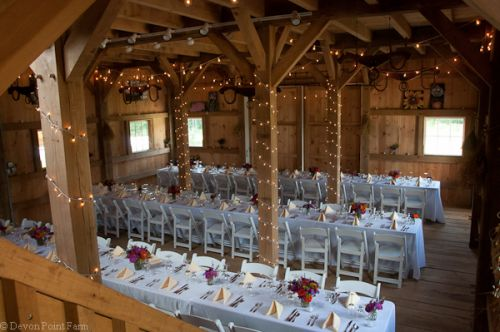 The setup for our Farm Dinner 2012 in our Post & Beam barn