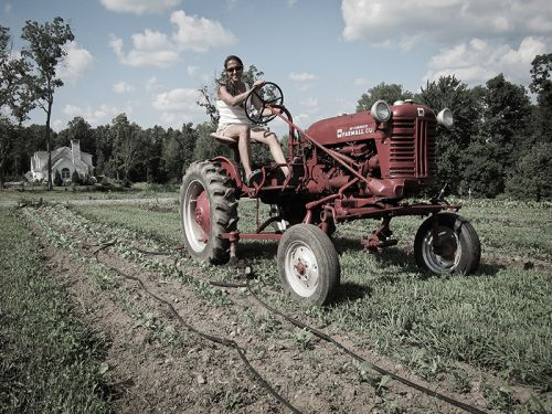 Patty on her 1958 Farmall Cub