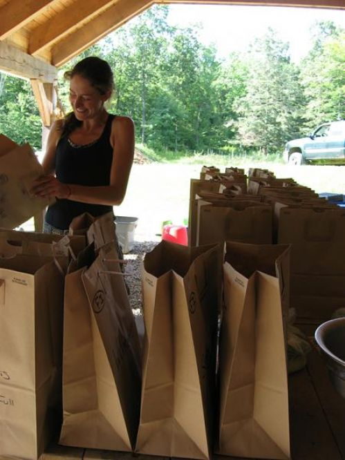 Packing bags for our CSA deliveries