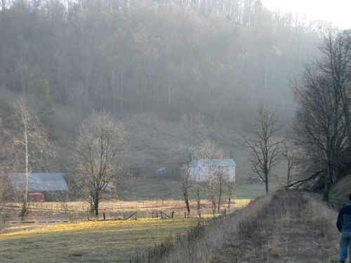Farmhouse view from the abandoned railbed -