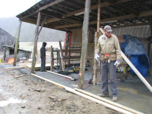 Building the walls in the new milking barn -