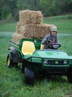 Shannon hauling straw mulch in the gator