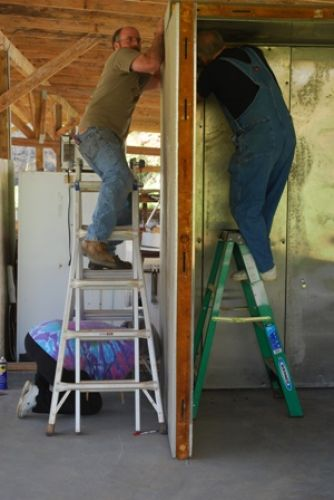 """Erecting the """"new"""" walk in cooler"""