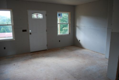 Great room with drywall hung