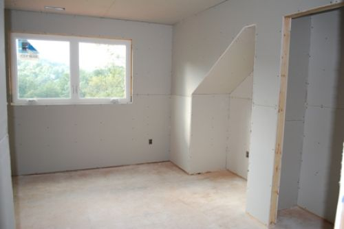 bedroom with drywall hung
