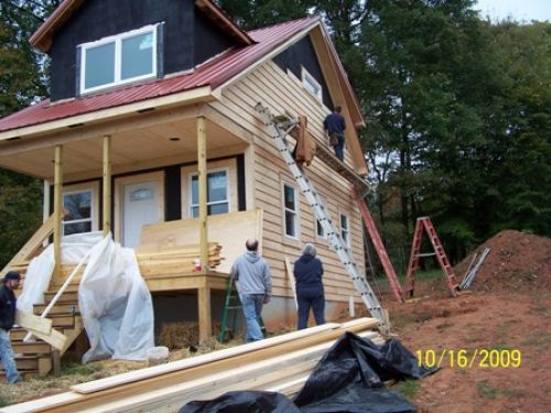 Putting up the siding