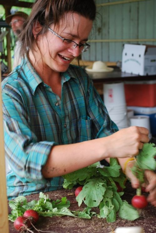 Brooke bunching radishes