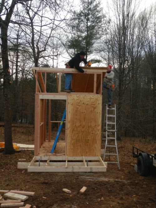 """Jason and Lee building the third employee """"pod"""""""