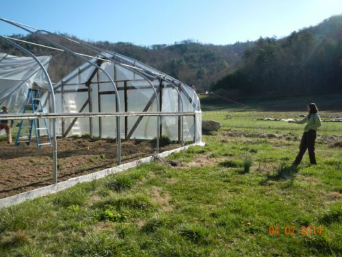 Rahcel pulls the plastic over the hoop house
