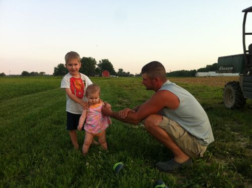 Checking crops with Daddy