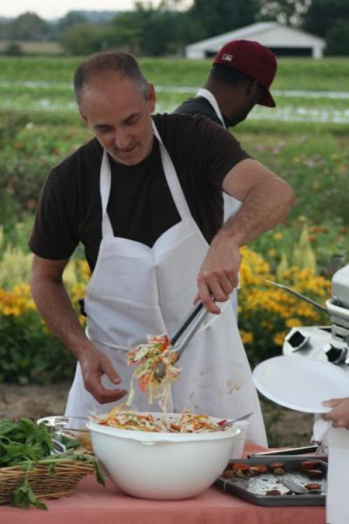 Chef Steve Waxman serving up a wonderful array of Landisdale food