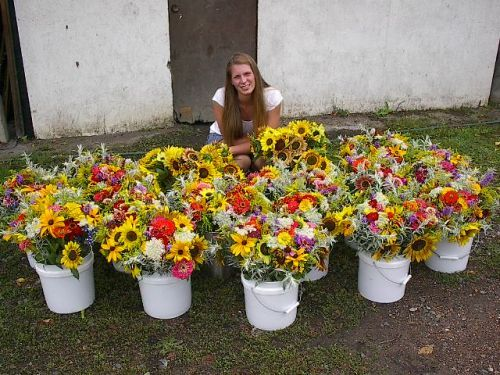 Kate, our intern with her flowers