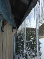 Icicles from barn