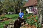 Becky in Spring flowers