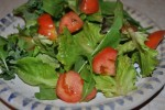 Early April Salad--with a 5 month old tomato!