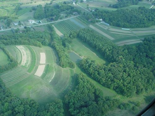 Aerial view of the farm.