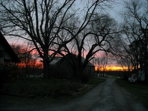 Sunset around Barn