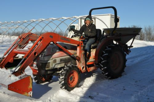 Maria plowing first snow '16