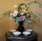 Lisianthus arrangement at a business in Pittsboro.