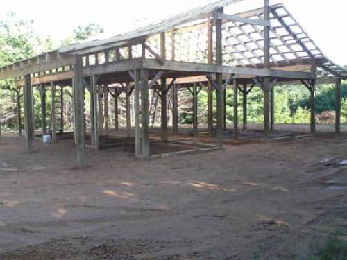 The framework of our new milking barn in Floyd County, Virginia nears completion in August of 2013.