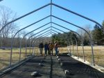 Milestone #1 Greenhouse purlins and floor complete!(L-R)Rod, daughter Laura, son Alex, Laura's husband Marco, Mike