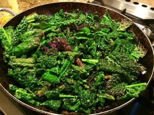 kale braised in olive oil and garlic