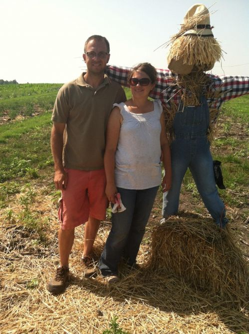 Our scarecrow in the potato patch