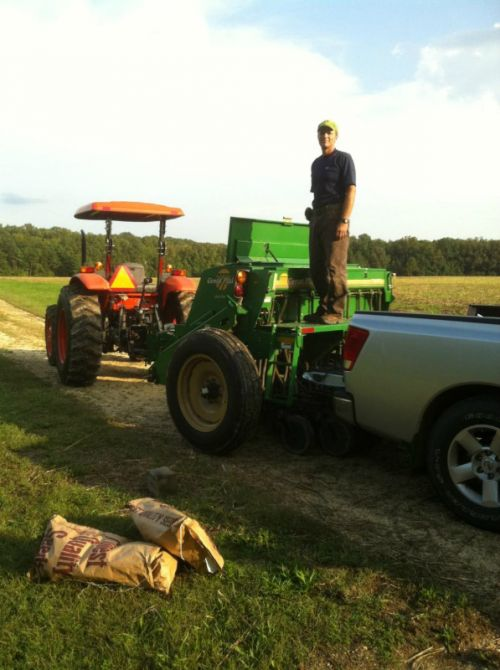 Planting fall cover crops using a no-till seed drill
