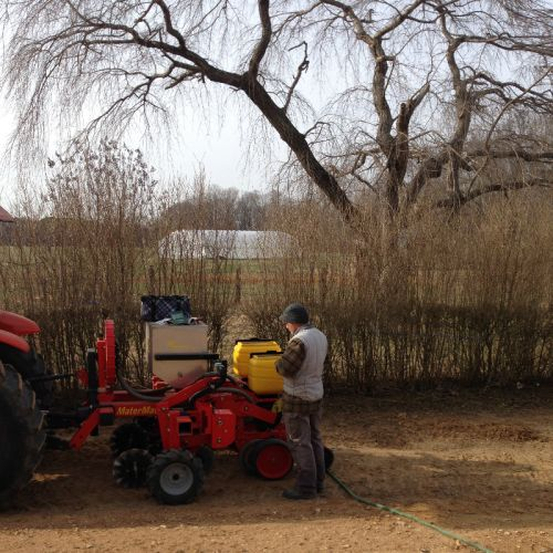 Farmer Dave preparing to seed spring crops