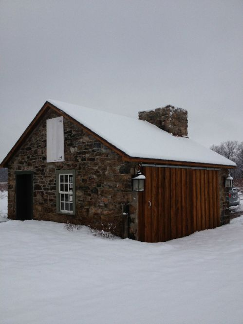 The blueberry shed after a snowstorm.