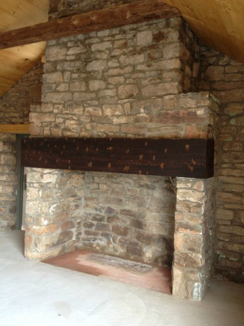 The blueberry shed fireplace after the renovations.