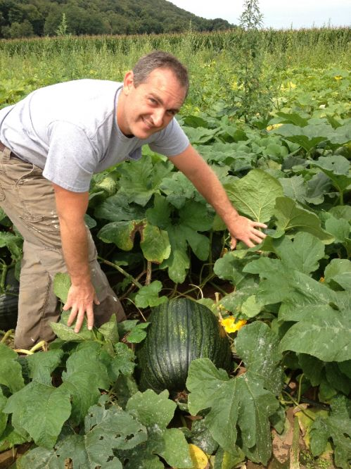 Jarod (Owner) checking on the pumpkin patch.