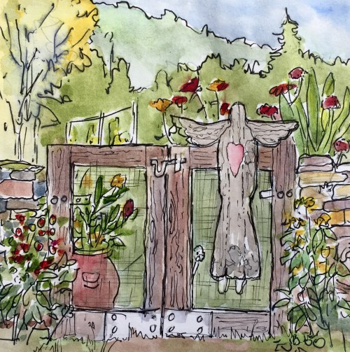 Garden Gate at Qualla Berry Farm by Jan Muir