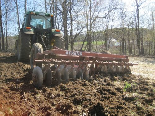 An essential farm implement: the off-set disk.  Given our rocky NH soils, a disc is often the only tillage we do.
