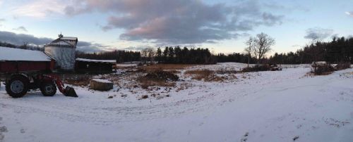 A typical scene this winter.  A bit of snow, a bit of bare ground, a patch of clouds, some breaks of pale winter light.
