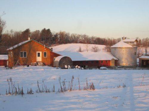 December 2013 view of apprentice house (on left) with dairy barn (center) and grain silo (on rt.)