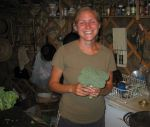Katie freezing broccoli in yurt.