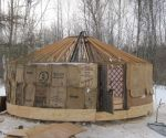 Outside of yurt with burlap
