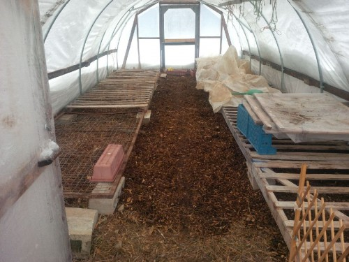 April 16, 2018 -- an empty greenhouse due to cold weather