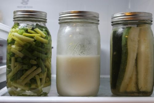 Green beans, goat milk and dill pickles all from our farm